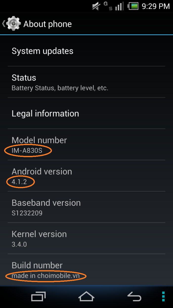 Android Jelly Bean 4.1 - Sky A830S build in Sky a830L